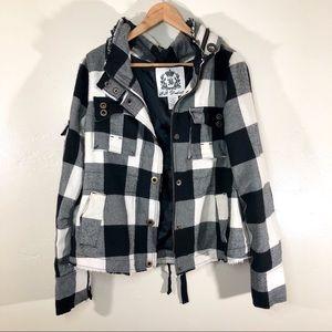 BB Dakota black & white buffalo plaid jacket large